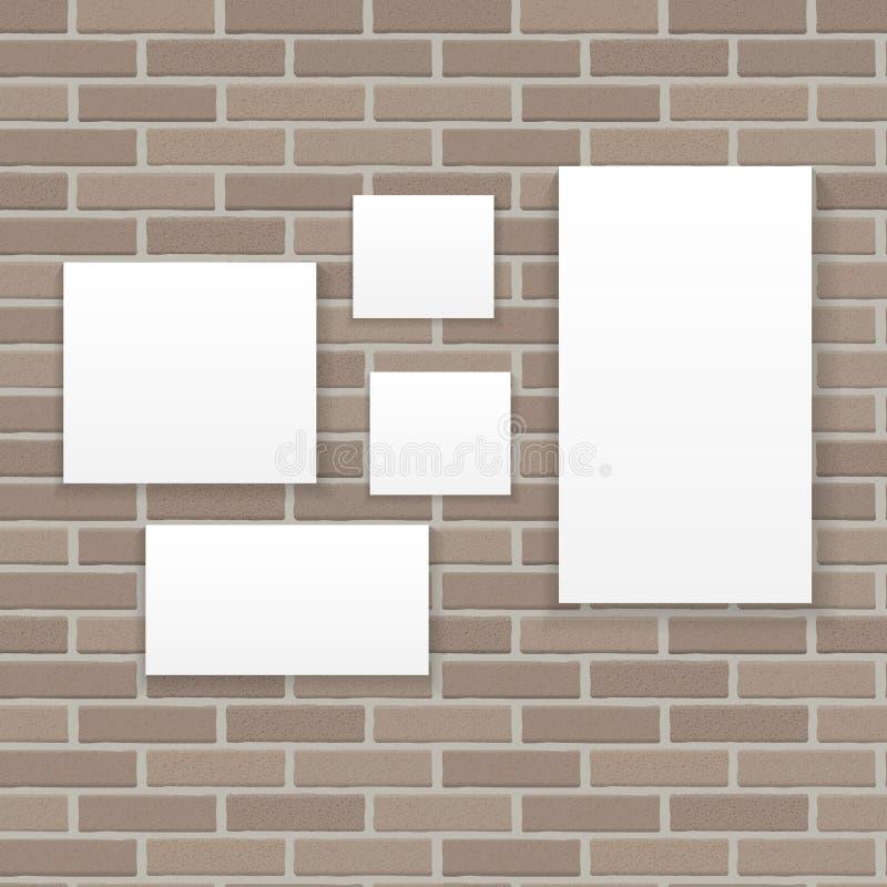 在砖墙传染媒介例证背景的白色框架 向量例证