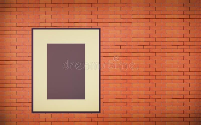 在砖墙内部的一个老空白的照片框架 库存例证