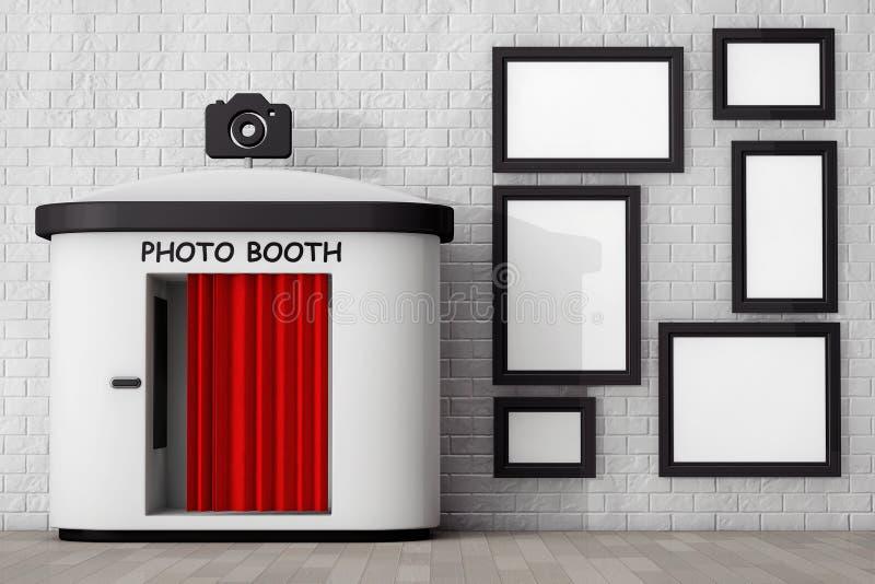 在砖墙前面的照片摊有空白的画框的 3d 库存例证