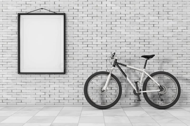 在砖墙前面的黑白登山车有空白的 向量例证