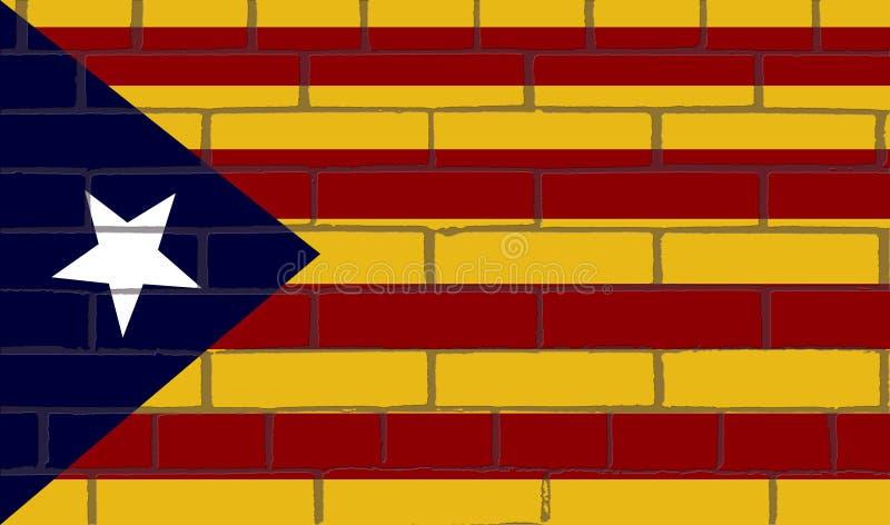 在砖墙壁上的星是独立思想体系的公民通常使用的旗子 皇族释放例证