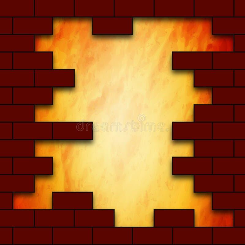 在砖墙的一个孔 向量例证