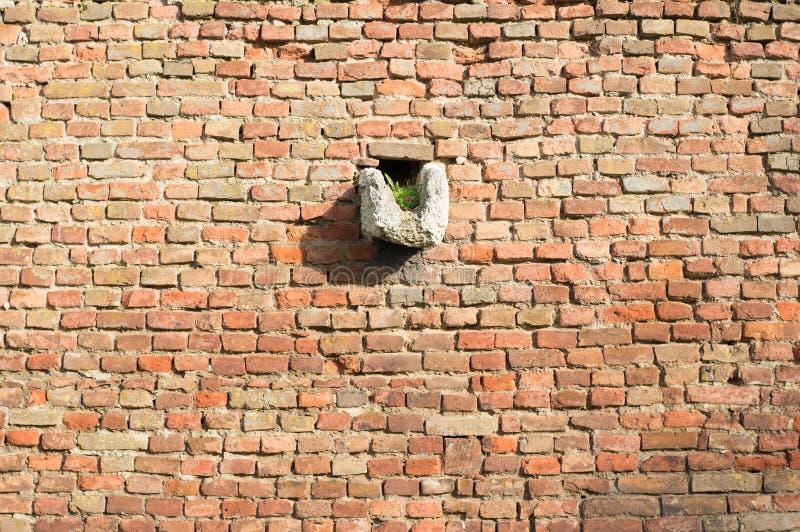 在砖墙的古老渡槽管子 图库摄影