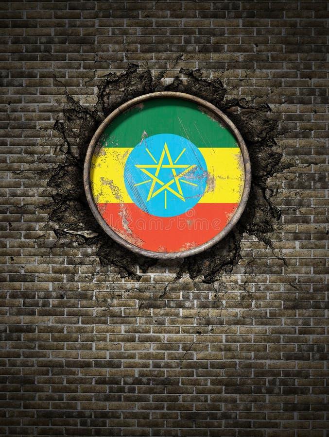 在砖墙的老埃塞俄比亚旗子 皇族释放例证