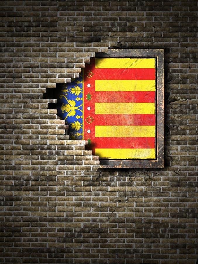 在砖墙的老巴伦西亚旗子 向量例证