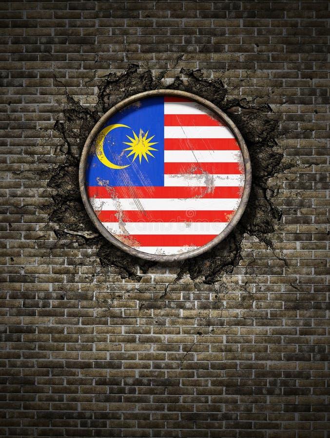 在砖墙的老马来西亚旗子 库存例证