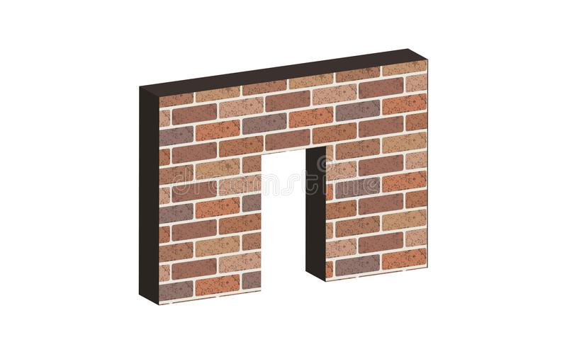 在砖墙的门在3D 皇族释放例证