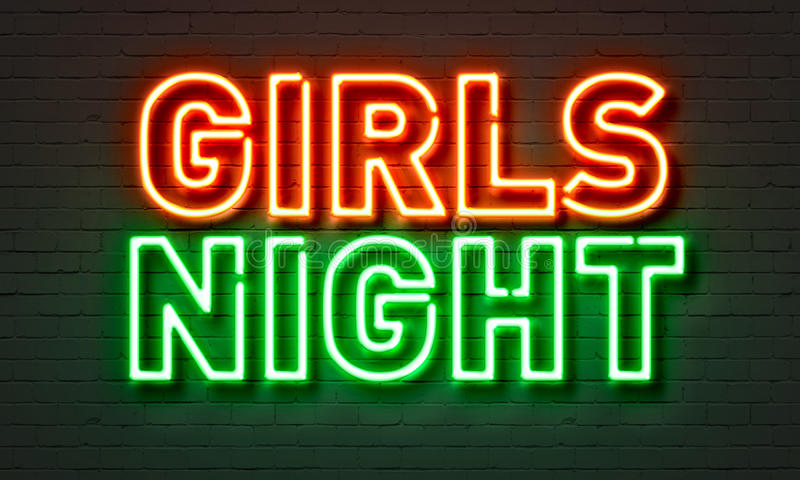 在砖墙背景的女孩夜霓虹灯广告 免版税库存图片