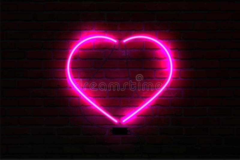 在砖墙背景的桃红色发光的霓虹心脏 皇族释放例证
