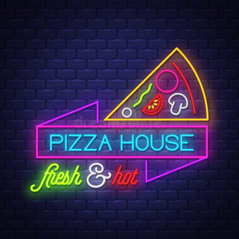 在砖墙背景的比萨家的霓虹灯广告传染媒介 库存例证