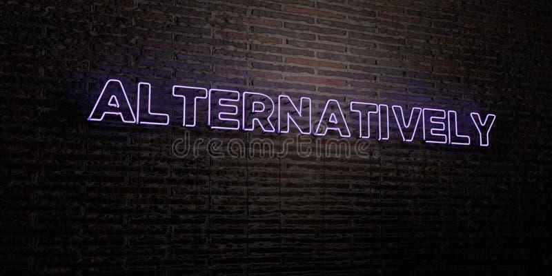 -在砖墙背景的现实霓虹灯广告- 3D二者择一地回报了皇族自由储蓄图象 向量例证