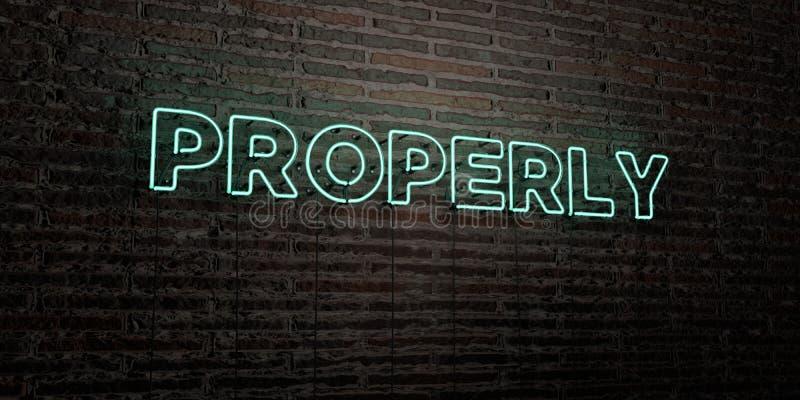 -在砖墙背景的现实霓虹灯广告- 3D适当地回报了皇族自由储蓄图象 库存例证