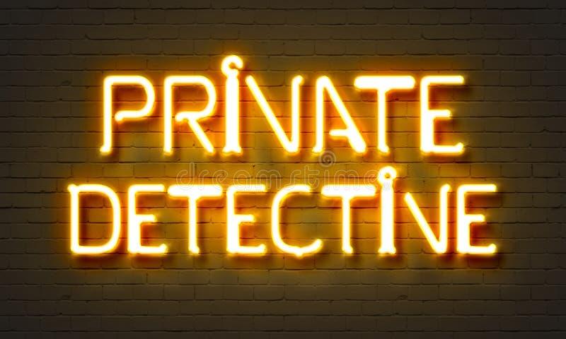 在砖墙背景的私家侦探霓虹灯广告 免版税库存图片
