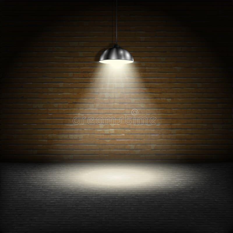 在砖墙背景的聚光灯 向量例证