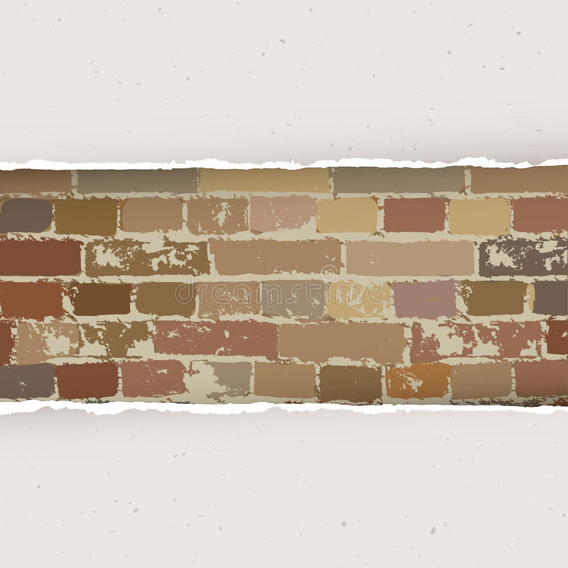 在砖墙背景的被撕毁的纸 向量 库存例证