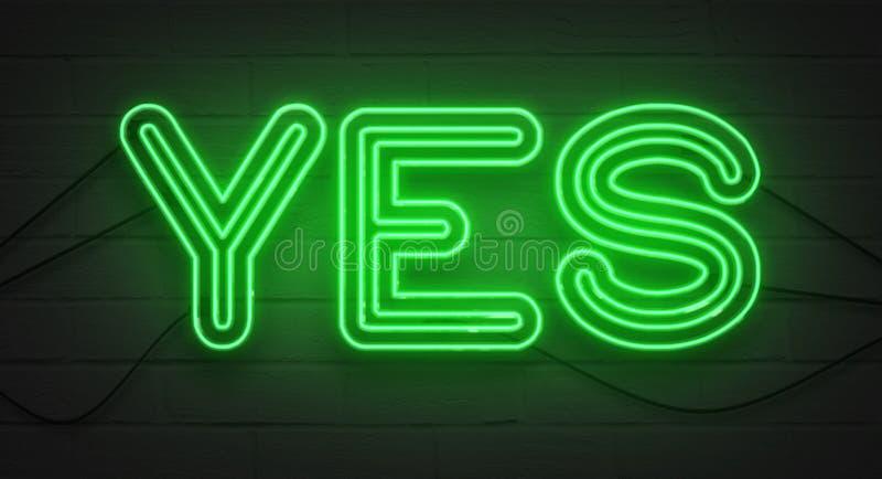 在砖墙背景的闪烁的眨眼睛绿色霓虹灯广告,是肯定的标志 免版税图库摄影