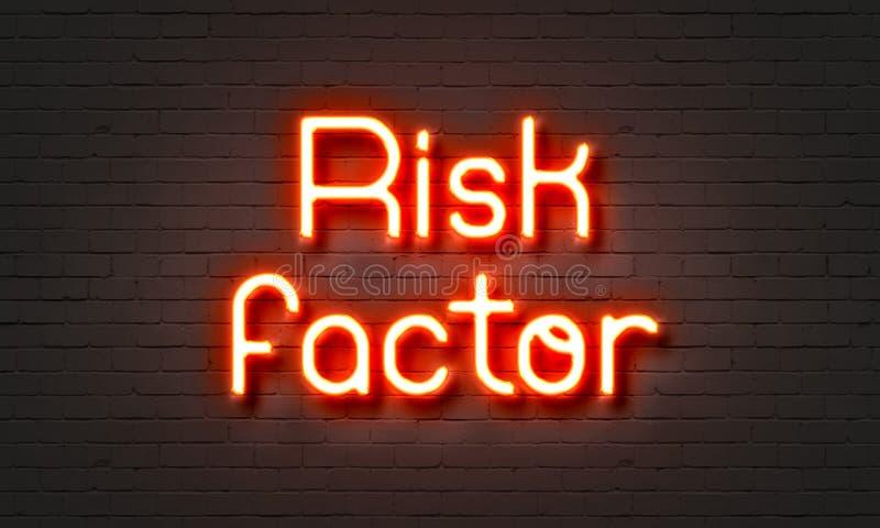 在砖墙背景的风险因素霓虹灯广告 库存例证