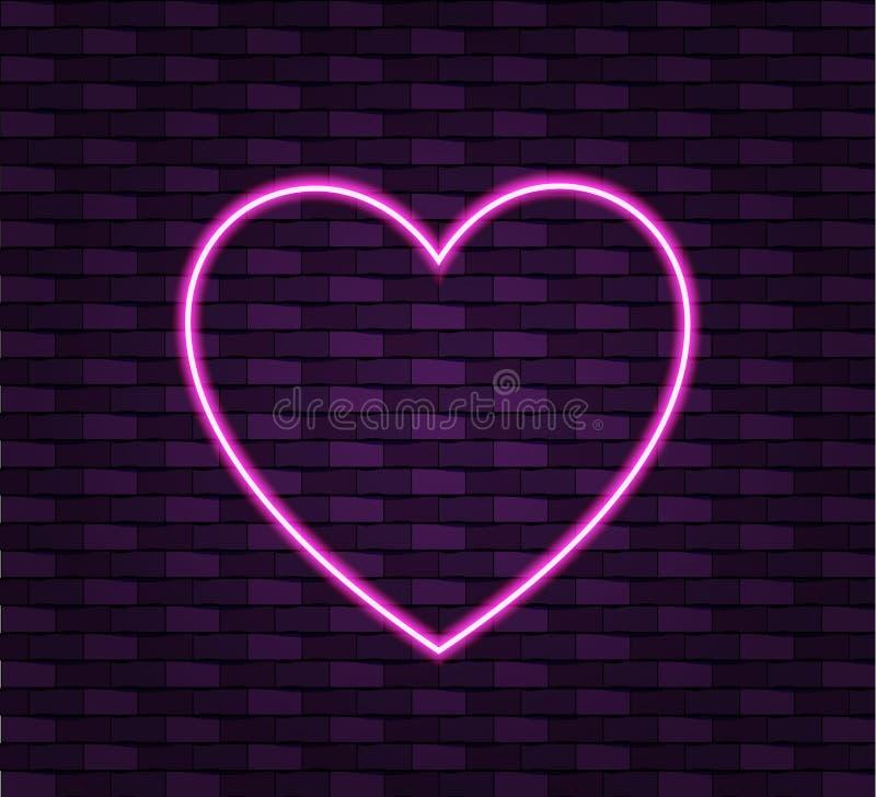 在砖墙背景,光亮的传染媒介框架模板的霓虹心脏 皇族释放例证