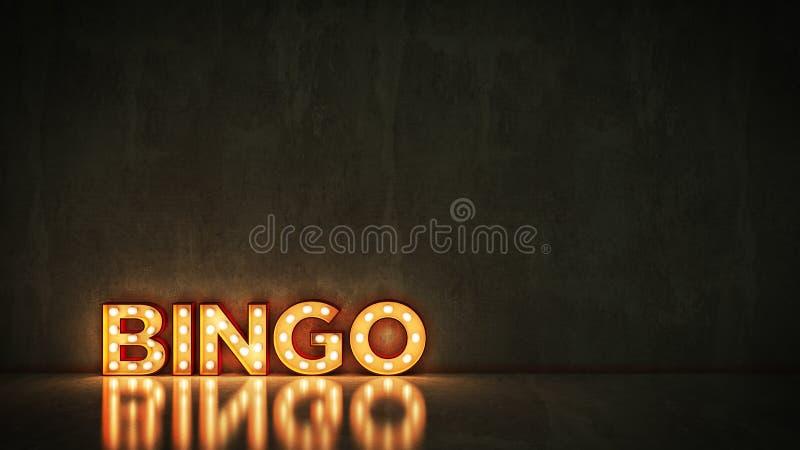 在砖墙背景-宾果游戏的霓虹灯广告 3d翻译 向量例证