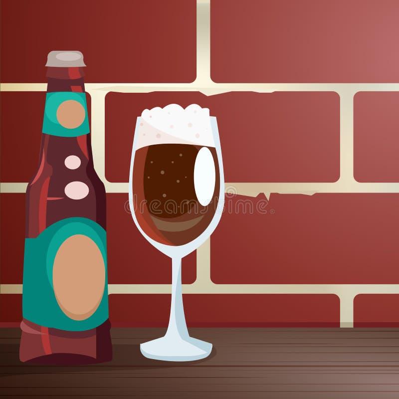 在砖墙附近制作在一张木桌上的啤酒, 库存例证