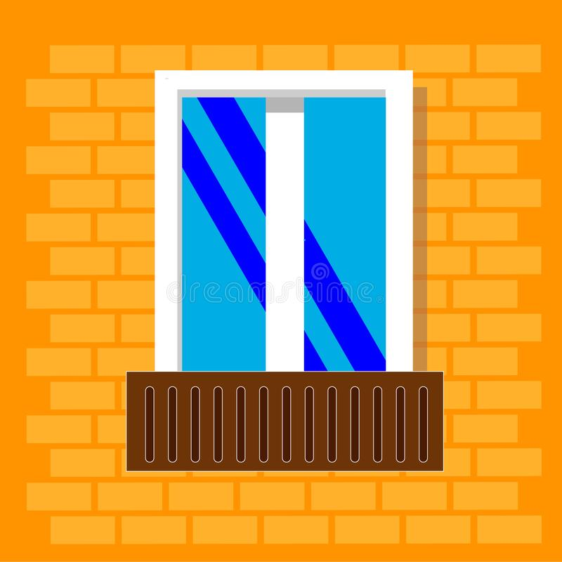 在砖房子墙壁上隔绝的窗架视图 与阳台的详细的塑料窗口 外部建筑学的设计室外或 库存例证