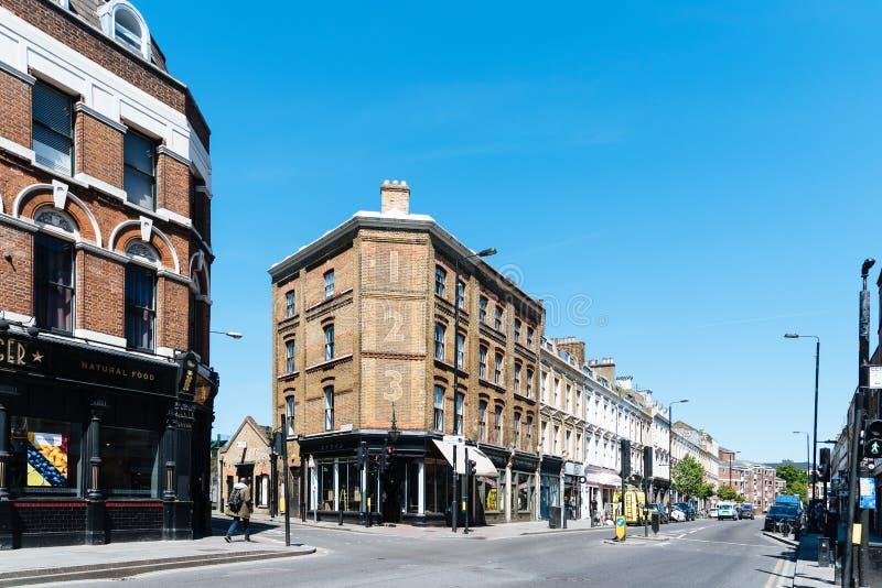 在砖车道,Shoreditch,伦敦的街道场面 库存照片