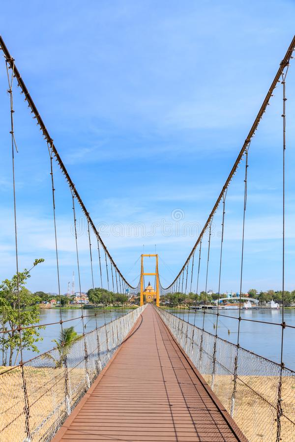 在砰河的曼谷二百年桥梁来兴府的,泰国 图库摄影