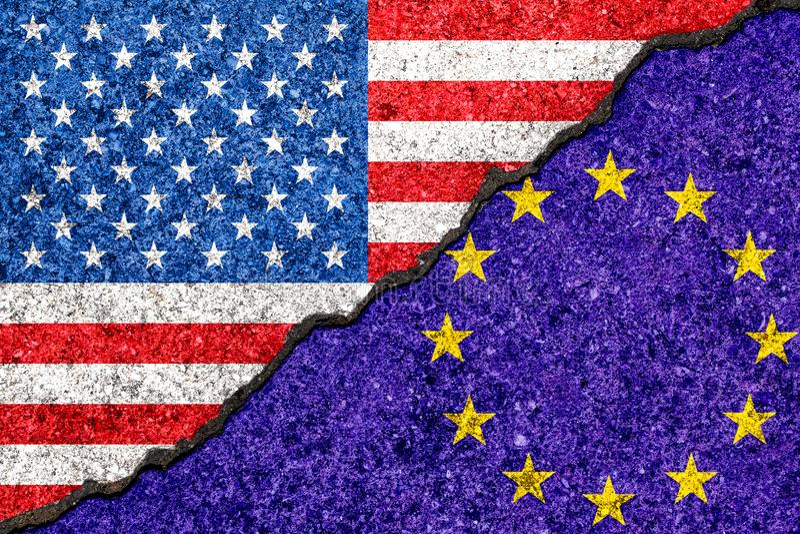 在破裂的墙壁backgrou和美国的绘的旗子欧盟 向量例证