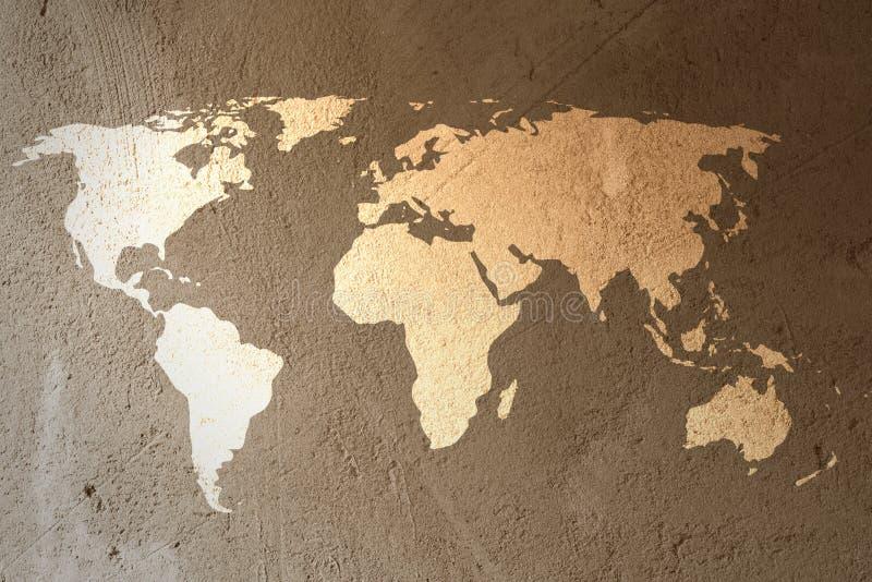 在破裂的水泥墙壁纹理背景的旧世界地图 向量例证
