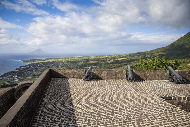 在硫磺小山堡垒的大炮圣基茨岛的 免版税图库摄影