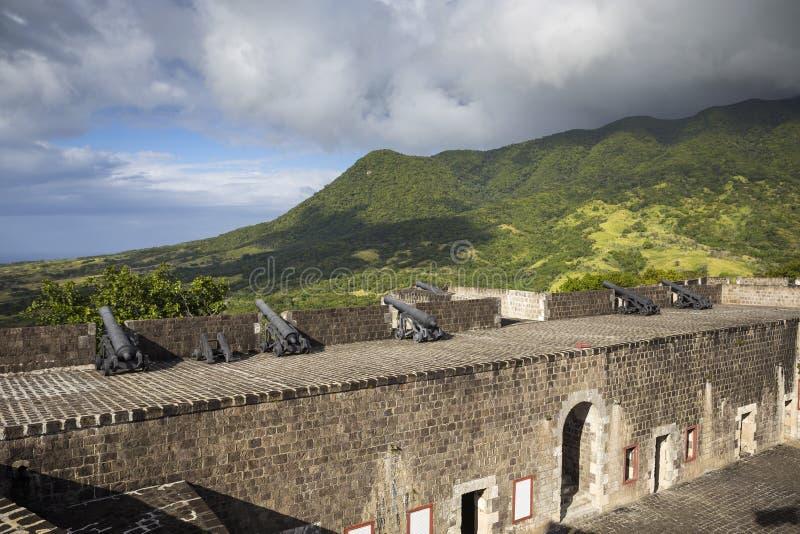 在硫磺小山堡垒的大炮圣基茨岛的 库存照片