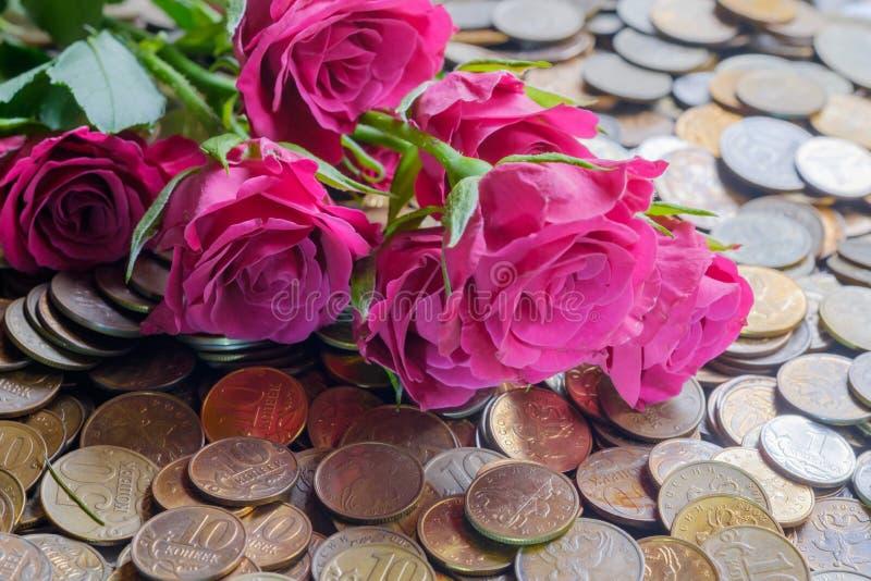 在硬币的玫瑰 库存照片