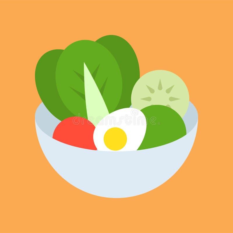 在碗、食物和美食术集合,平的象的沙拉 向量例证