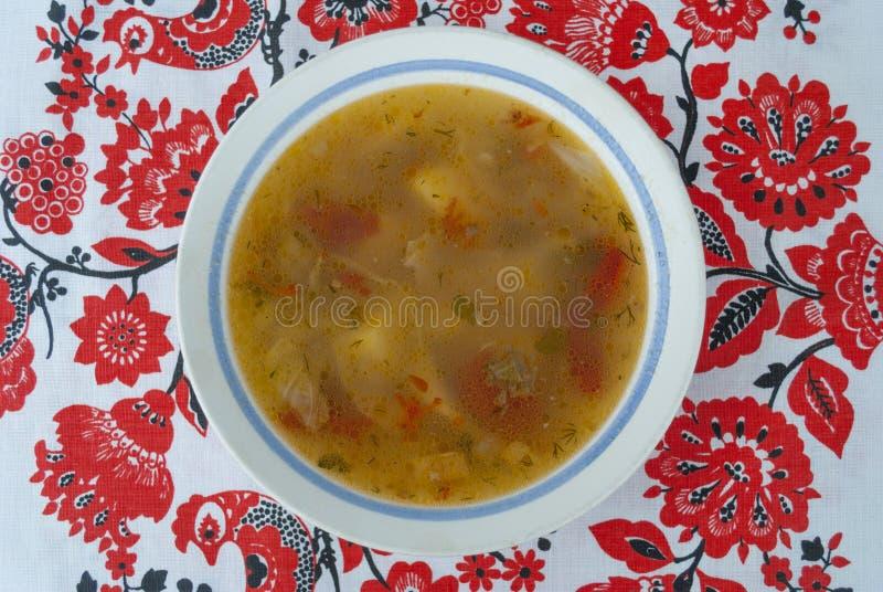 在碗的乌克兰罗宋汤 免版税库存图片