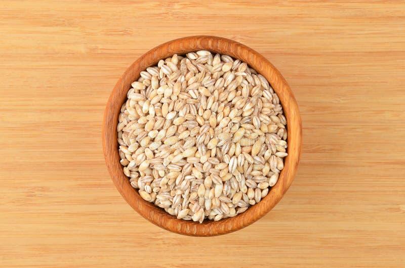 在碗的大麦沙粒 免版税图库摄影