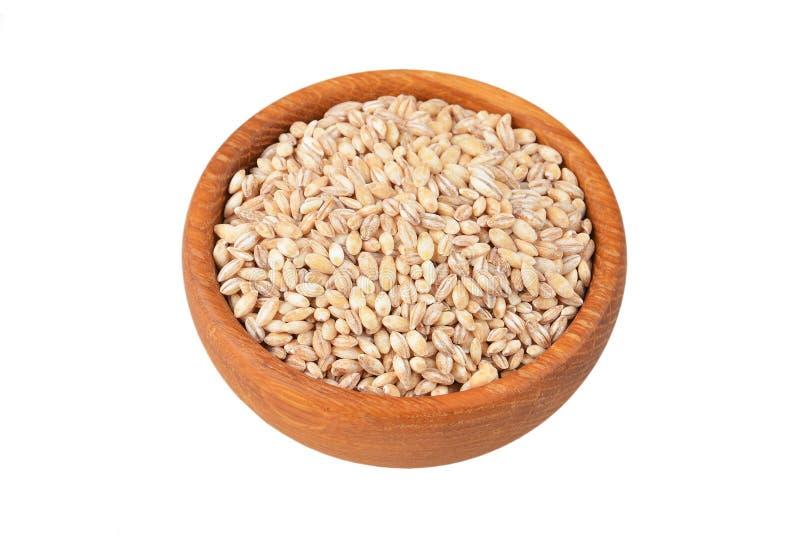在碗的大麦沙粒 免版税库存图片