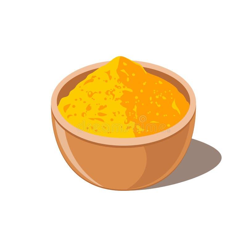 在碗的姜黄 姜黄素粉末 库存例证