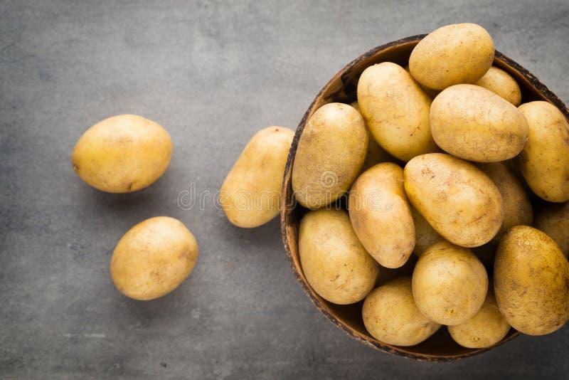 在碗的嫩土豆土豆,灰色背景 免版税库存图片