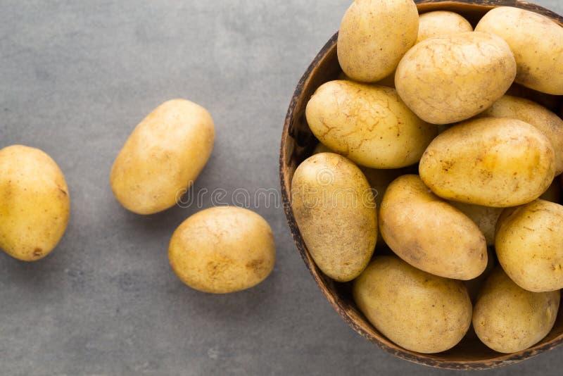 在碗的嫩土豆土豆,灰色背景 图库摄影