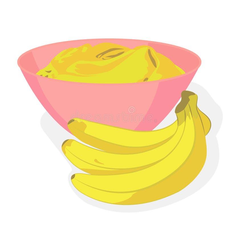 在碗的捕捉的香蕉和一束香蕉 皇族释放例证