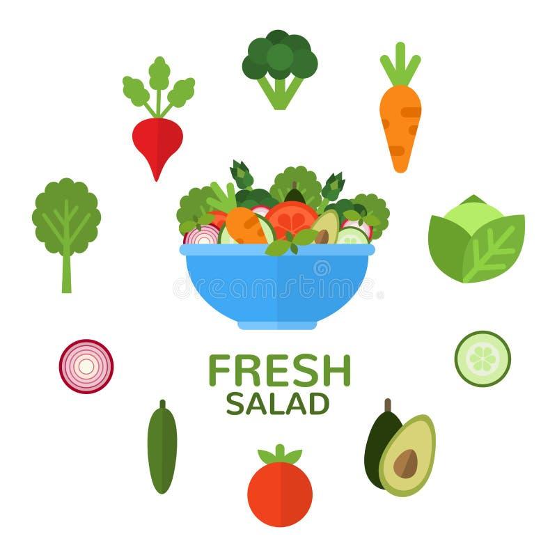 在碗的新鲜的沙拉素食菜单和健康食物广告的 沙拉柜台 黑色成份莴苣橄榄沙拉攫取糖蕃茄 可适用的食物 皇族释放例证