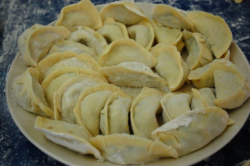 在碗的未加工的中国饺子 图库摄影
