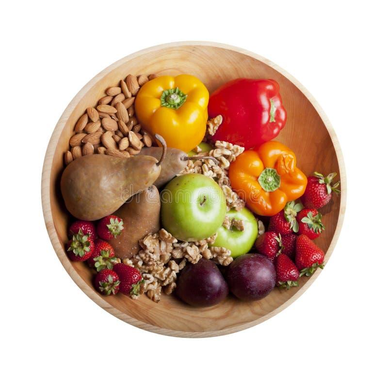 在碗的查出的健康Paleo食物 免版税库存照片