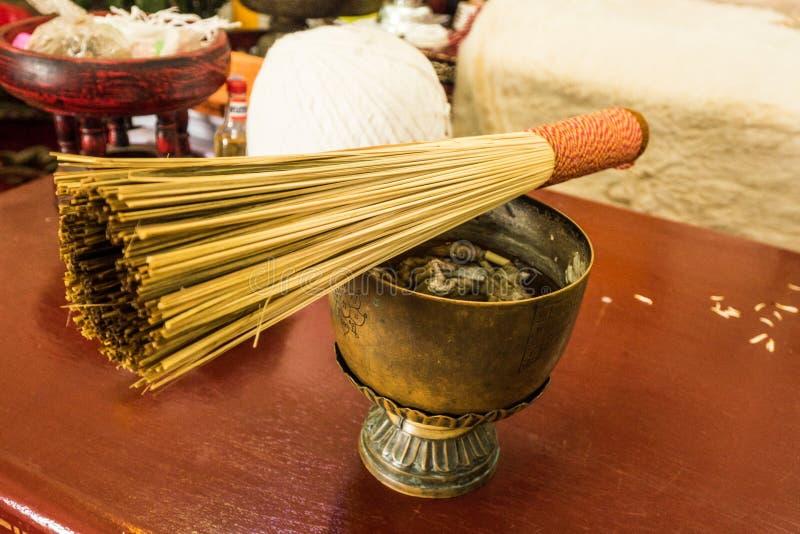 在碗的泰国圣水 库存图片