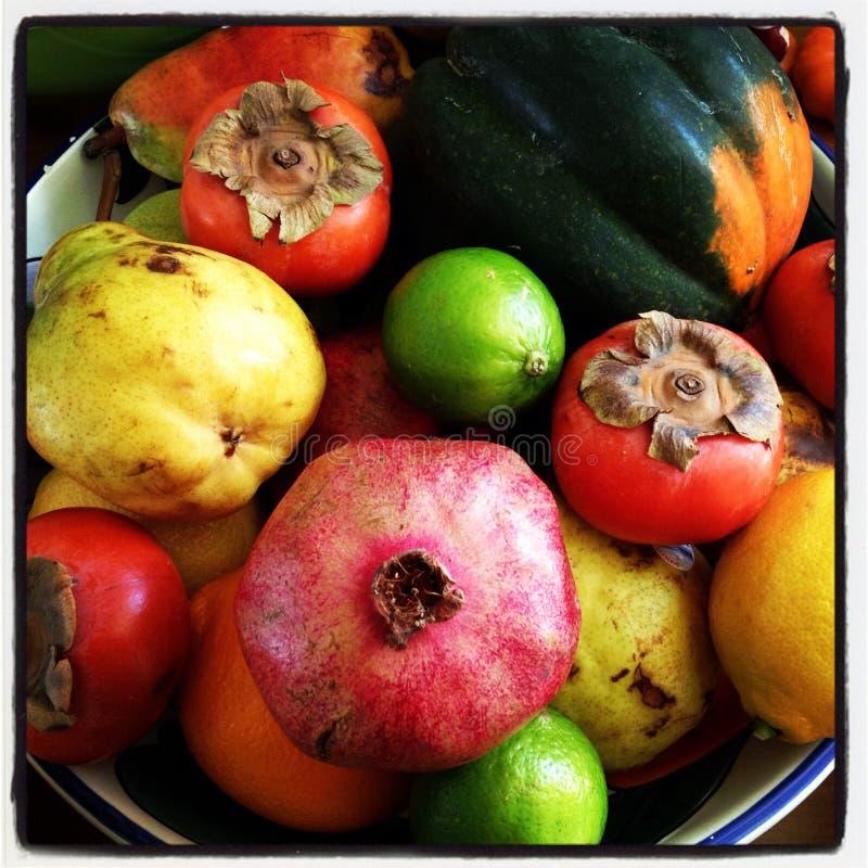 在碗的秋天果子 免版税库存照片