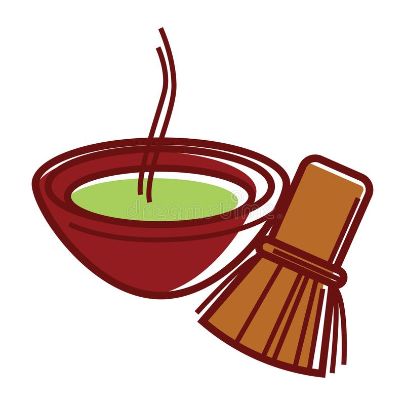 在碗的Matcha茶用竹茶扫 皇族释放例证