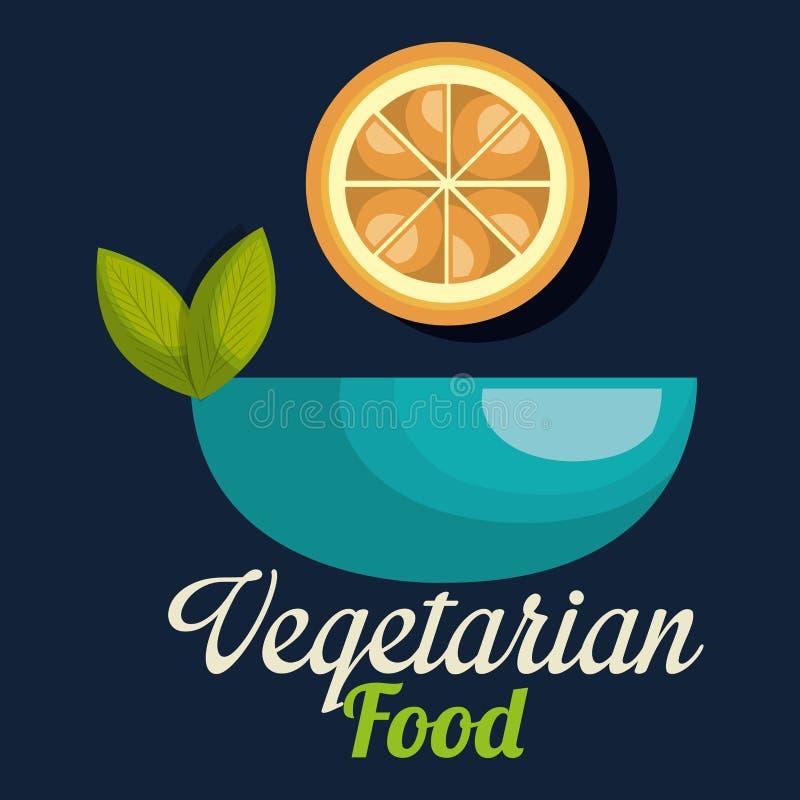 在碗素食主义者食物的新鲜的桔子 库存例证