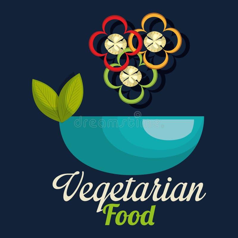 在碗素食主义者食物的新鲜的胡椒 皇族释放例证