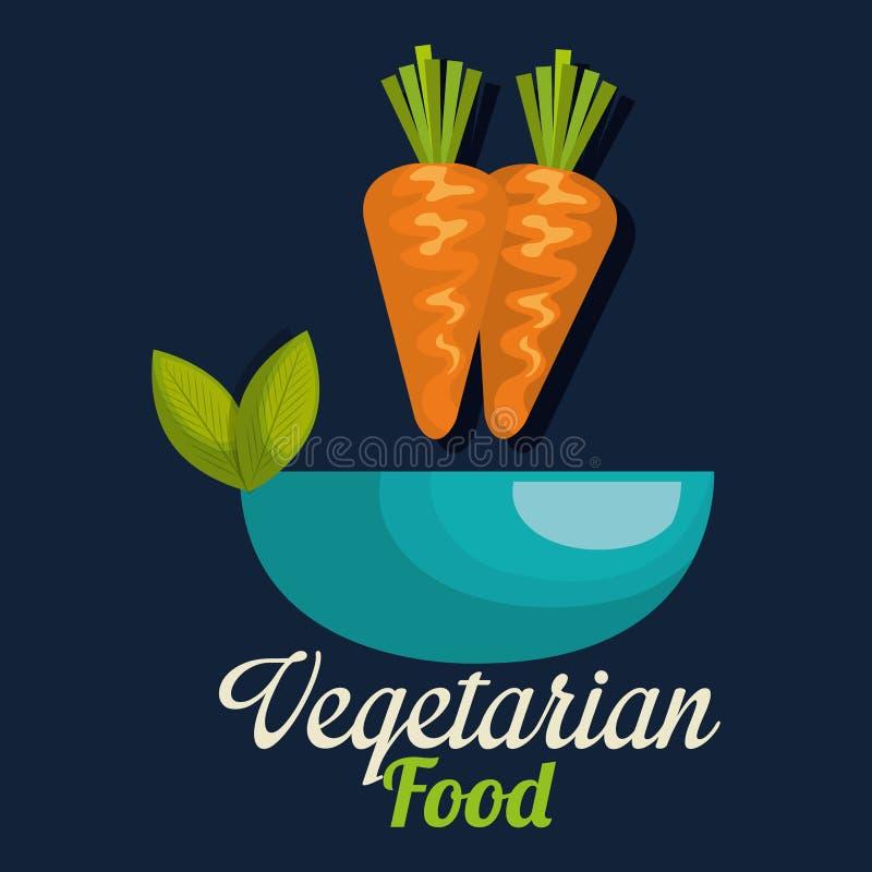 在碗素食主义者食物的新coarrots 皇族释放例证