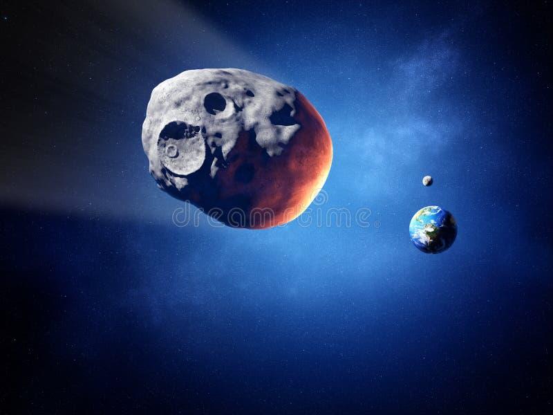 在碰撞航向的小行星与地球(这个图象的元素 向量例证